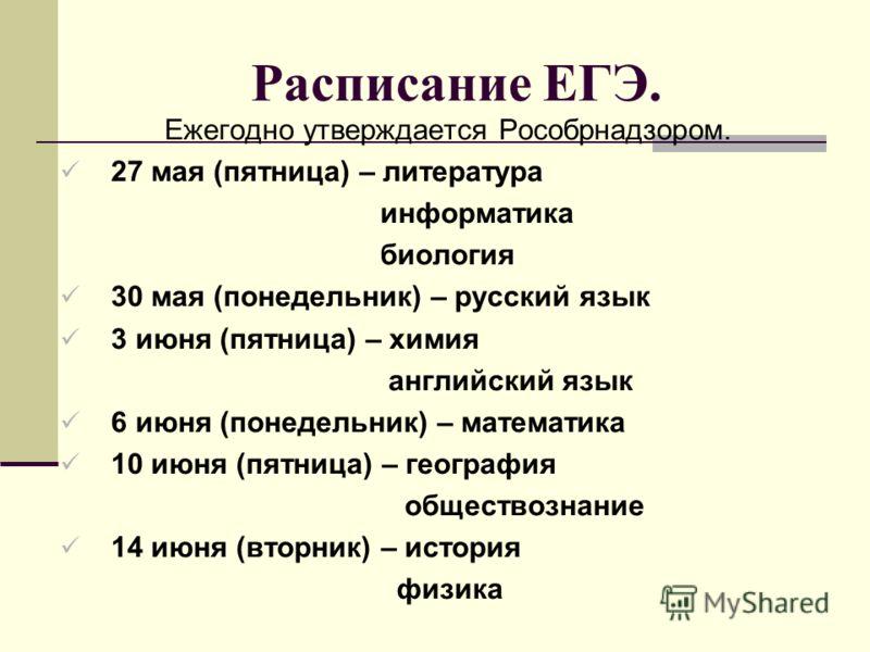 Расписание ЕГЭ. Ежегодно утверждается Рособрнадзором. 27 мая (пятница) – литература информатика биология 30 мая (понедельник) – русский язык 3 июня (пятница) – химия английский язык 6 июня (понедельник) – математика 10 июня (пятница) – география обще