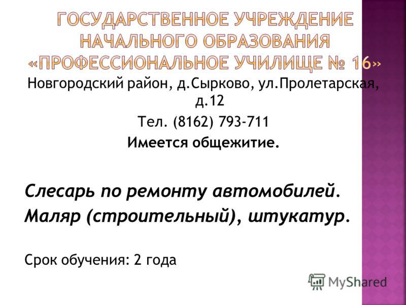 Новгородский район, д.Сырково, ул.Пролетарская, д.12 Тел. (8162) 793-711 Имеется общежитие. Слесарь по ремонту автомобилей. Маляр (строительный), штукатур. Срок обучения: 2 года