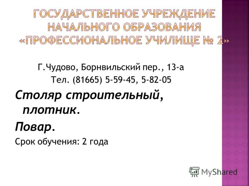 Г.Чудово, Борнвильский пер., 13-а Тел. (81665) 5-59-45, 5-82-05 Столяр строительный, плотник. Повар. Срок обучения: 2 года