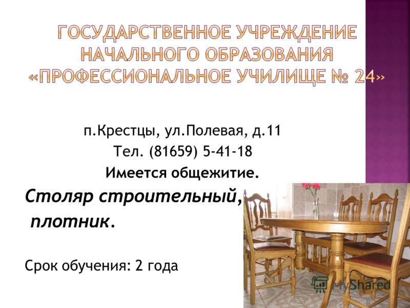 п.Крестцы, ул.Полевая, д.11 Тел. (81659) 5-41-18 Имеется общежитие. Столяр строительный, плотник. Срок обучения: 2 года