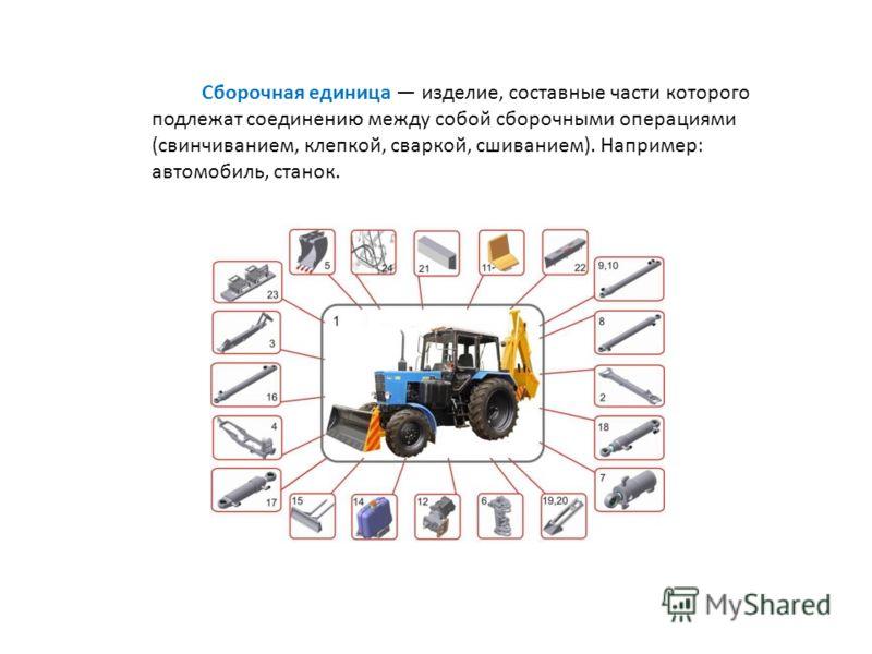 Сборочная единица изделие, составные части которого подлежат соединению между собой сборочными операциями (свинчиванием, клепкой, сваркой, сшиванием). Например: автомобиль, станок.