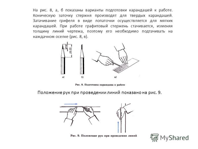 На рис. 8, а, б показаны варианты подготовки карандашей к работе. Коническую заточку стержня производят для твердых карандашей. Затачивание грифеля в виде лопаточки осуществляется для мягких карандашей. При работе графитовый стержень стачивается, изм
