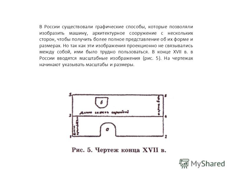 В России существовали графические способы, которые позволяли изобразить машину, архитектурное сооружение с нескольких сторон, чтобы получить более полное представление об их форме и размерах. Но так как эти изображения проекционно не связывались межд