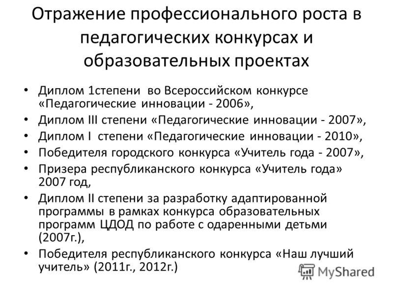Отражение профессионального роста в педагогических конкурсах и образовательных проектах Диплом 1степени во Всероссийском конкурсе «Педагогические инновации - 2006», Диплом III степени «Педагогические инновации - 2007», Диплом I степени «Педагогически