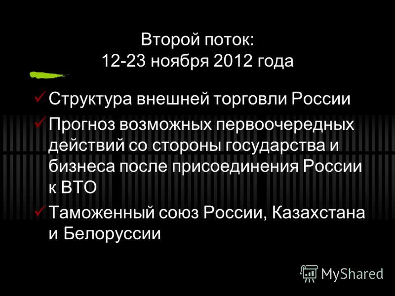 Второй поток: 12-23 ноября 2012 года Структура внешней торговли России Прогноз возможных первоочередных действий со стороны государства и бизнеса после присоединения России к ВТО Таможенный союз России, Казахстана и Белоруссии
