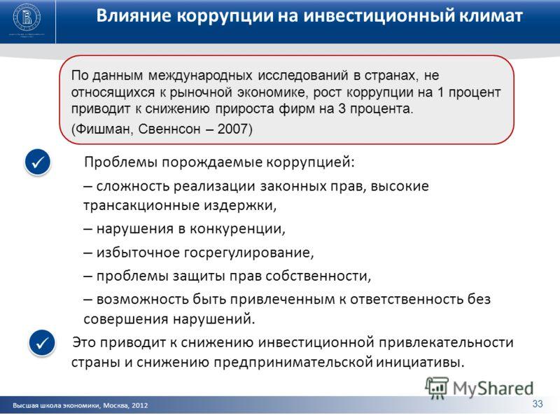 Высшая школа экономики, Москва, 2012 Влияние коррупции на инвестиционный климат Проблемы порождаемые коррупцией: – сложность реализации законных прав, высокие трансакционные издержки, – нарушения в конкуренции, – избыточное госрегулирование, – пробле