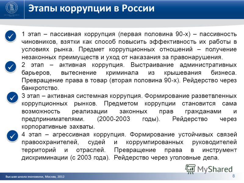 Высшая школа экономики, Москва, 2012 Этапы коррупции в России 1 этап – пассивная коррупция (первая половина 90-х) – пассивность чиновников, взятки как способ повысить эффективность их работы в условиях рынка. Предмет коррупционных отношений – получен