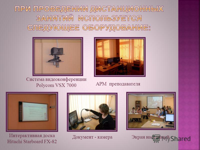 Система видеоконференции Polycom VSX 7000 Интерактивная доска Hitachi Starboard FX-82 АРМ преподавателя Экран настенныйДокумент - камера