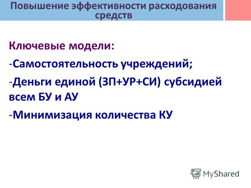 Ключевые модели: -Самостоятельность учреждений; -Деньги единой (ЗП+УР+СИ) субсидией всем БУ и АУ -Минимизация количества КУ