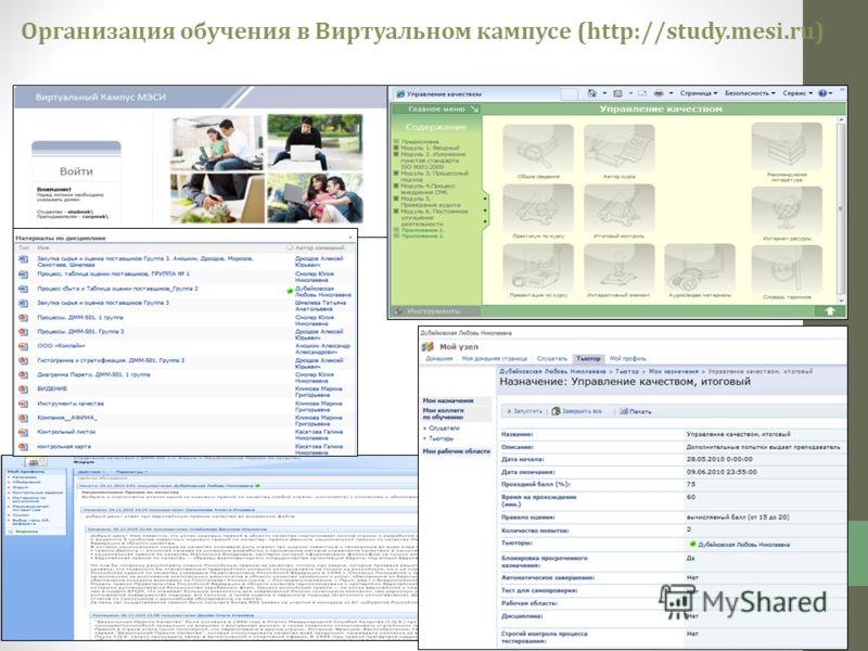 Организация обучения в Виртуальном кампусе (http://study.mesi.ru)