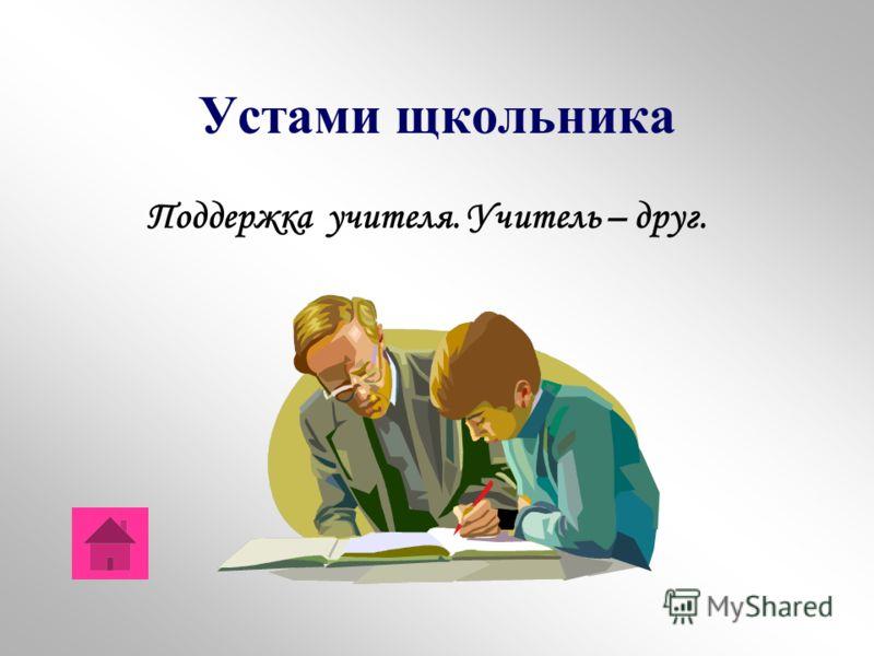 Устами щкольника Поддержка учителя. Учитель – друг.