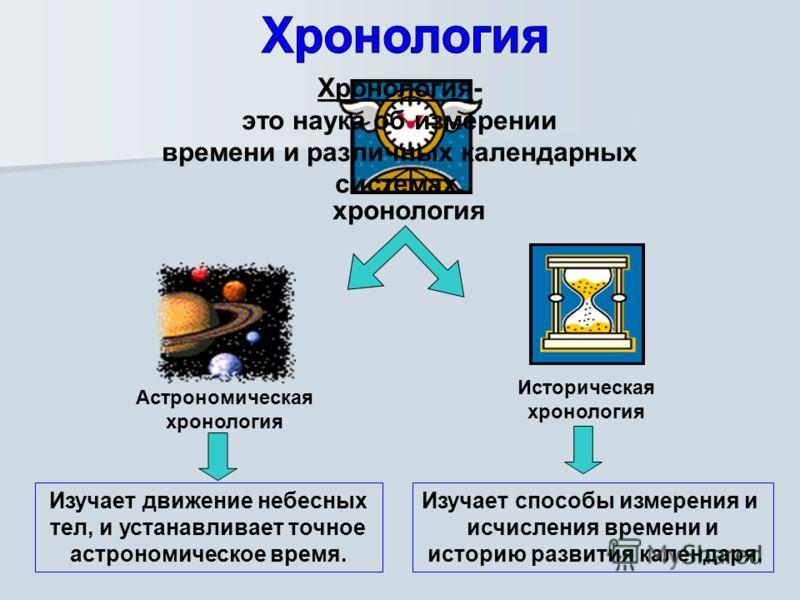 хронология Хронология- это наука об измерении времени и различных календарных системах. Изучает движение небесных тел, и устанавливает точное астрономическое время. Астрономическая хронология Историческая хронология Изучает способы измерения и исчисл