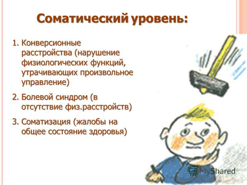 Соматический уровень: 1.Конверсионные расстройства (нарушение физиологических функций, утрачивающих произвольное управление) 2.Болевой синдром (в отсутствие физ.расстройств) 3.Соматизация (жалобы на общее состояние здоровья)