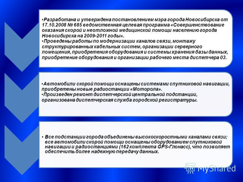 Разработана и утверждена постановлением мэра города Новосибирска от 17.10.2008 685 ведомственная целевая программа «Совершенствование оказания скорой и неотложной медицинской помощи населению города Новосибирска на 2009-2011 годы». Проведены работы п
