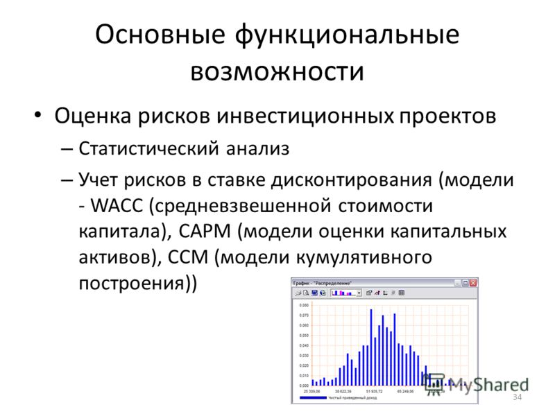 Основные функциональные возможности Оценка рисков инвестиционных проектов – Статистический анализ – Учет рисков в ставке дисконтирования (модели - WACC (средневзвешенной стоимости капитала), CAPM (модели оценки капитальных активов), CCM (модели кумул