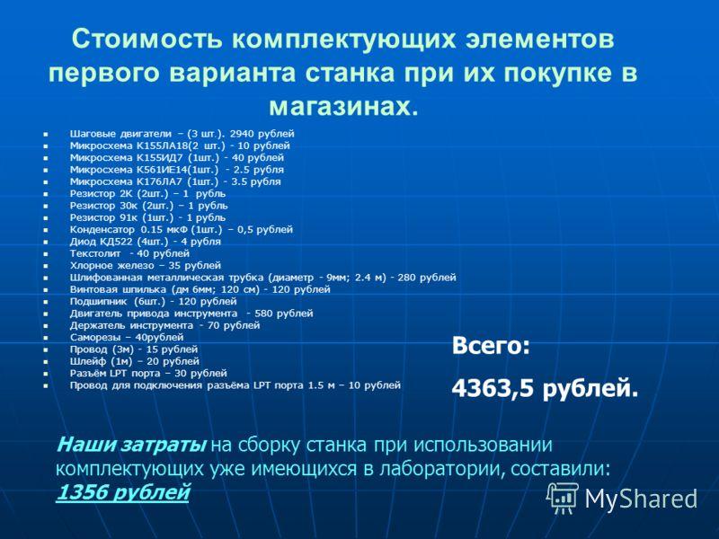 Стоимость комплектующих элементов первого варианта станка при их покупке в магазинах. Шаговые двигатели – (3 шт. ). 2940 рублей Микросхема К155ЛА18(2 шт.) - 10 рублей Микросхема К155ИД7 (1шт.) - 40 рублей Микросхема К561ИЕ14(1шт.) - 2.5 рубля Микросх