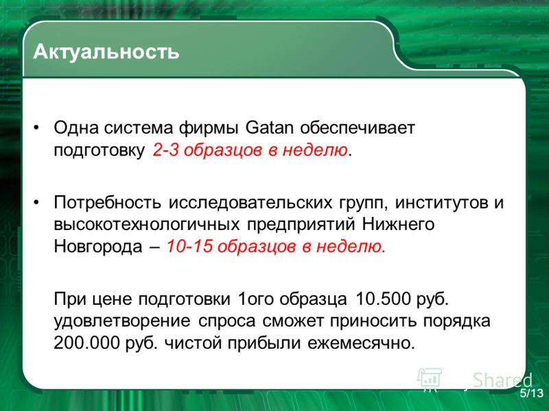 Актуальность Одна система фирмы Gatan обеспечивает подготовку 2-3 образцов в неделю. Потребность исследовательских групп, институтов и высокотехнологичных предприятий Нижнего Новгорода – 10-15 образцов в неделю. При цене подготовки 1ого образца 10.50