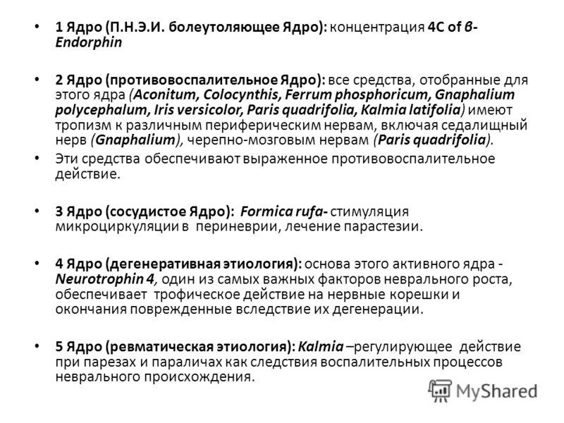 1 Ядро (П.Н.Э.И. болеутоляющее Ядро): концентрация 4С of β- Endorphin 2 Ядро (противовоспалительное Ядро): все средства, отобранные для этого ядра (Aconitum, Colocynthis, Ferrum phosphoricum, Gnaphalium polycephalum, Iris versicolor, Paris quadrifoli