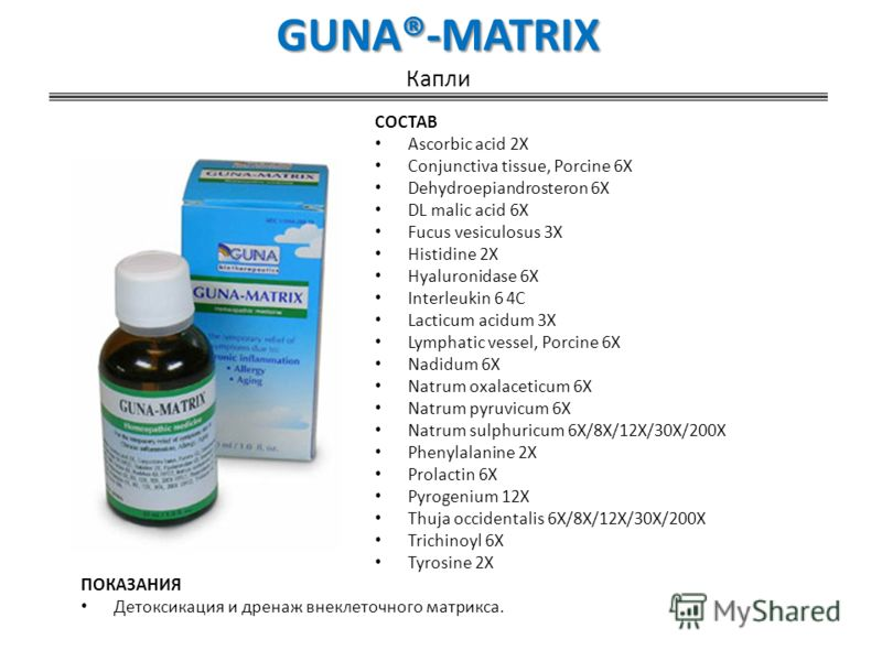 GUNA®-MATRIX GUNA®-MATRIX Капли СОСТАВ Ascorbic acid 2X Conjunctiva tissue, Porcine 6X Dehydroepiandrosteron 6X DL malic acid 6X Fucus vesiculosus 3X Histidine 2X Hyaluronidase 6X Interleukin 6 4C Lacticum acidum 3X Lymphatic vessel, Porcine 6X Nadid