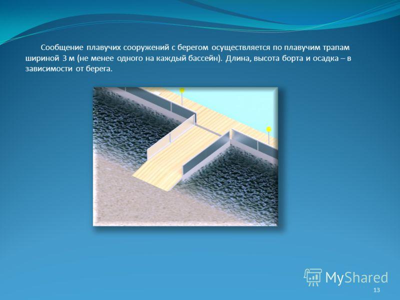 Сообщение плавучих сооружений с берегом осуществляется по плавучим трапам шириной 3 м (не менее одного на каждый бассейн). Длина, высота борта и осадка – в зависимости от берега. 13