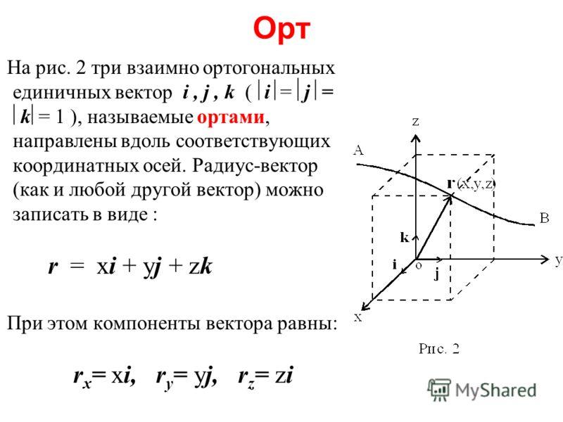 Орт На рис. 2 три взаимно ортогональных единичных вектор i, j, k ( i = j = k = 1 ), называемые ортами, направлены вдоль соответствующих координатных осей. Радиус-вектор (как и любой другой вектор) можно записать в виде : r = xi + yj + zk При этом ком