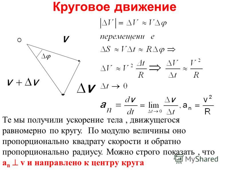 Круговое движение Те мы получили ускорение тела, движущегося равномерно по кругу. По модулю величины оно пропорционально квадрату скорости и обратно пропорционально радиусу. Можно строго показать, что a n v и направлено к центру круга О