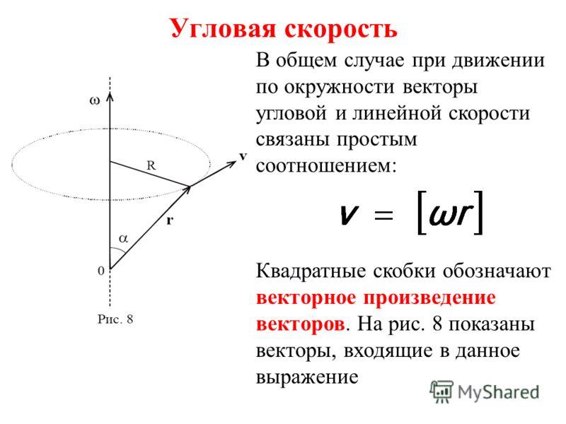 Угловая скорость В общем случае при движении по окружности векторы угловой и линейной скорости связаны простым соотношением: Квадратные скобки обозначают векторное произведение векторов. На рис. 8 показаны векторы, входящие в данное выражение