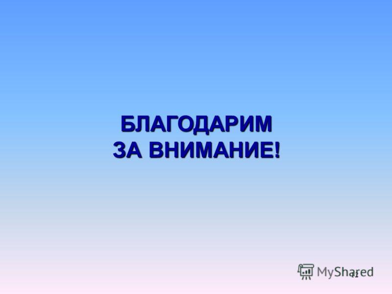 БЛАГОДАРИМ ЗА ВНИМАНИЕ! 12