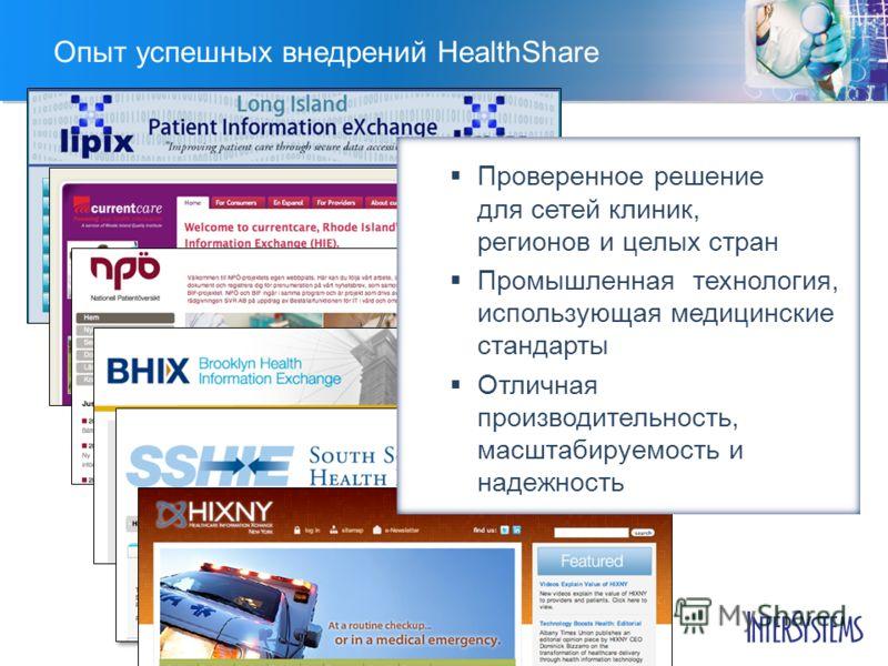 Опыт успешных внедрений HealthShare Проверенное решение для сетей клиник, регионов и целых стран Промышленная технология, использующая медицинские стандарты Отличная производительность, масштабируемость и надежность