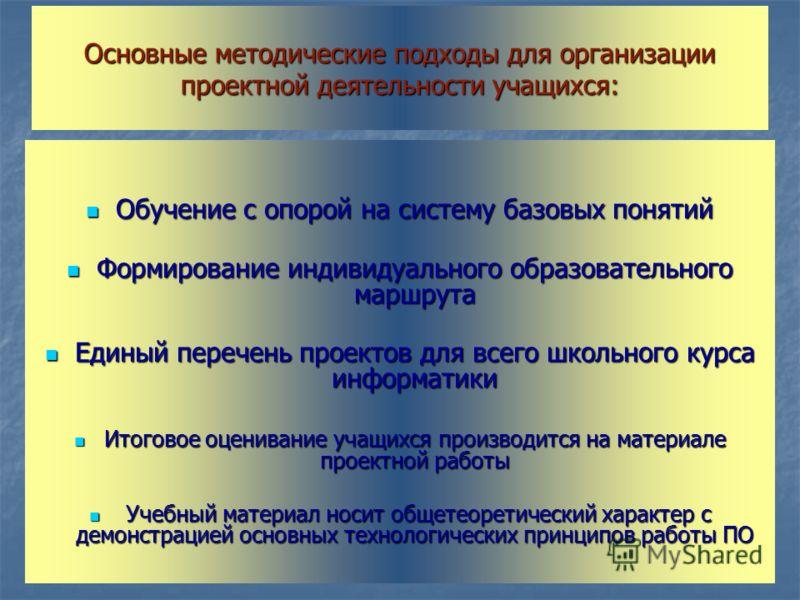 Основные методические подходы для организации проектной деятельности учащихся: Обучение с опорой на систему базовых понятий Обучение с опорой на систему базовых понятий Формирование индивидуального образовательного маршрута Формирование индивидуально