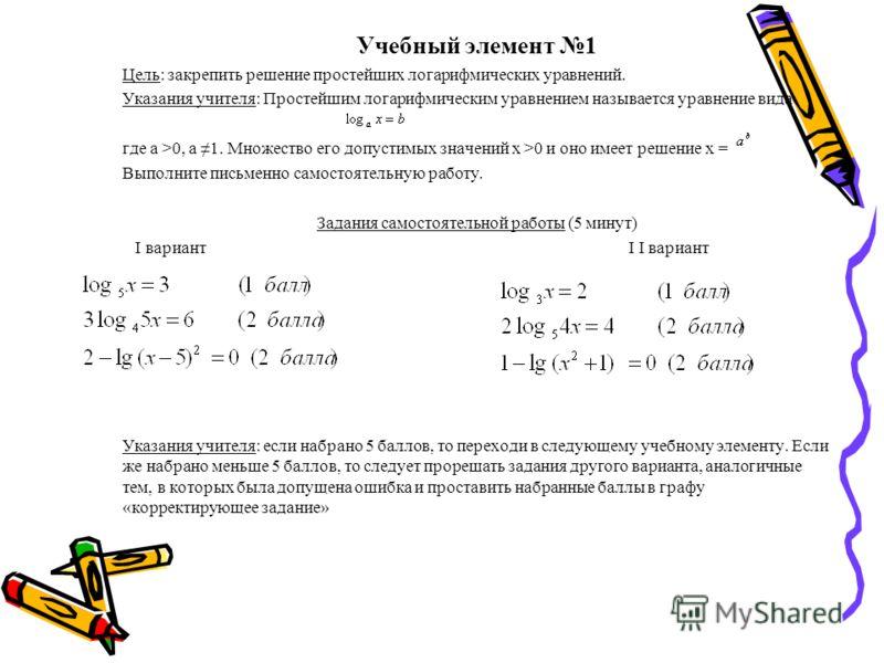 Учебный элемент 1 Цель: закрепить решение простейших логарифмических уравнений. Указания учителя: Простейшим логарифмическим уравнением называется уравнение вида где а >0, а 1. Множество его допустимых значений х >0 и оно имеет решение х = Выполните