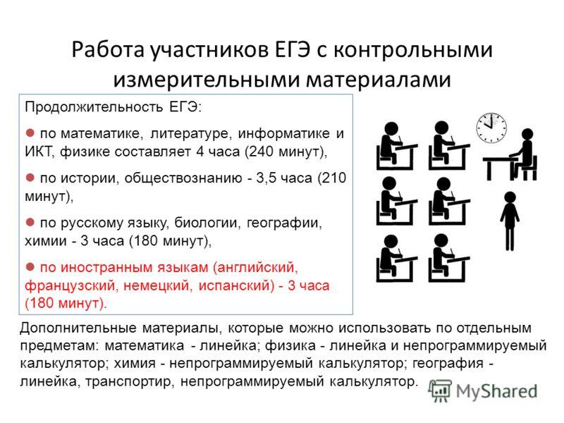 Работа участников ЕГЭ с контрольными измерительными материалами Продолжительность ЕГЭ: по математике, литературе, информатике и ИКТ, физике составляет 4 часа (240 минут), по истории, обществознанию - 3,5 часа (210 минут), по русскому языку, биологии,
