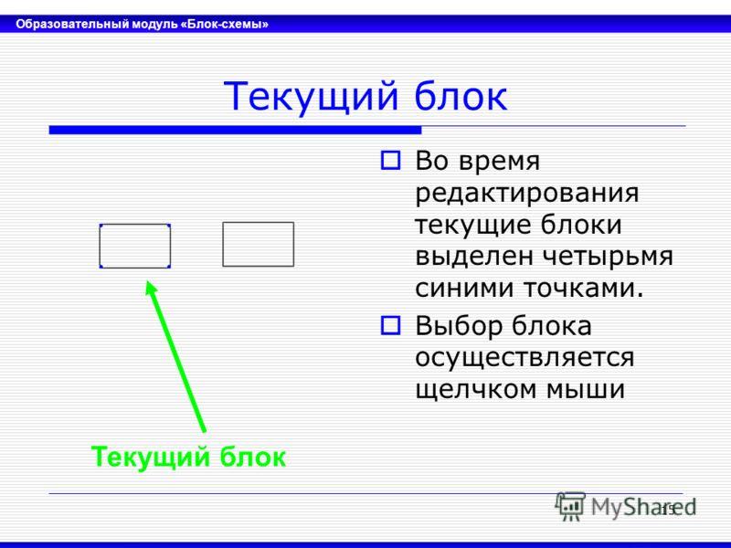 Образовательный модуль «Блок-схемы» 15 Текущий блок Во время редактирования текущие блоки выделен четырьмя синими точками. Выбор блока осуществляется щелчком мыши Текущий блок