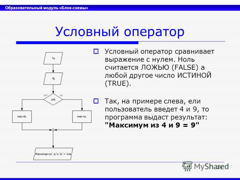Образовательный модуль «Блок-схемы» 28 Условный оператор Условный оператор сравнивает выражение с нулем. Ноль считается ЛОЖЬЮ (FALSE) а любой другое число ИСТИНОЙ (TRUE). Так, на примере слева, ели пользователь введет 4 и 9, то программа выдаст резул