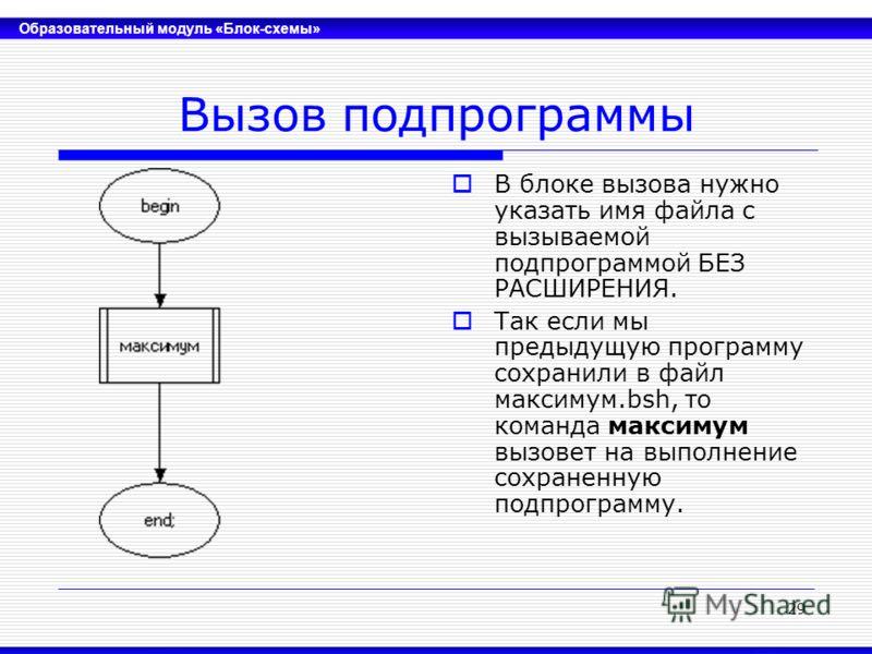 Образовательный модуль «Блок-схемы» 29 Вызов подпрограммы В блоке вызова нужно указать имя файла с вызываемой подпрограммой БЕЗ РАСШИРЕНИЯ. Так если мы предыдущую программу сохранили в файл максимум.bsh, то команда максимум вызовет на выполнение сохр