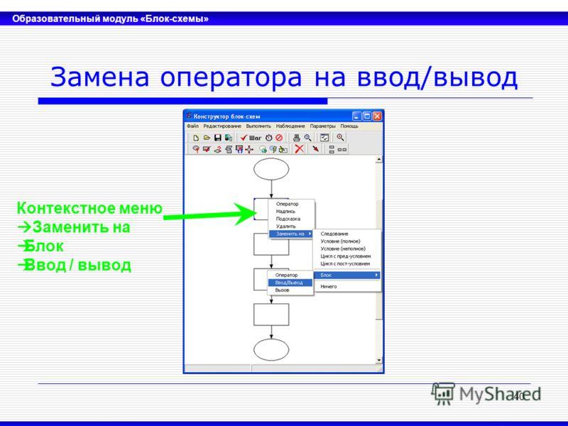 Образовательный модуль «Блок-схемы» 40 Замена оператора на ввод/вывод Контекстное меню Заменить на Блок Ввод / вывод