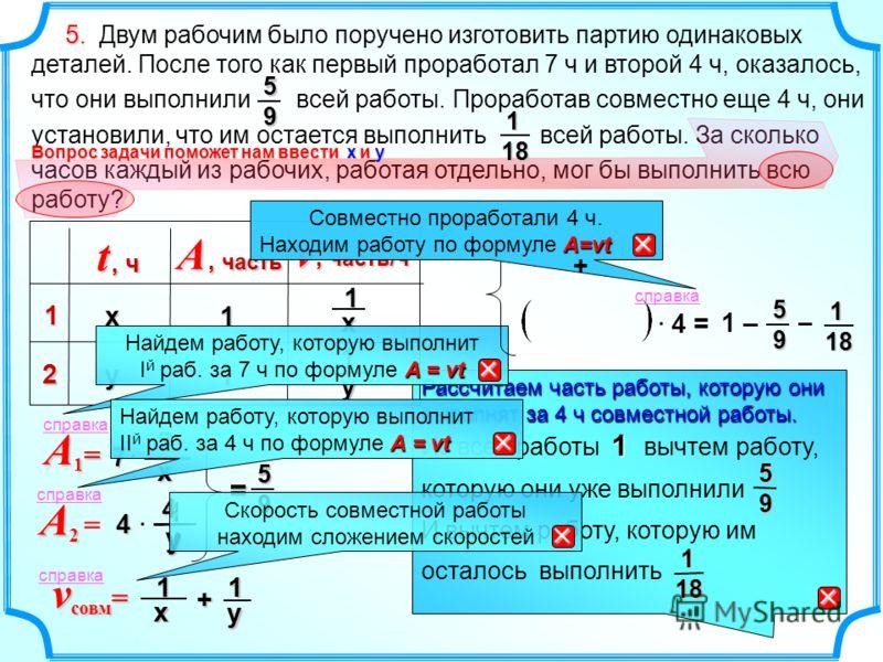 1 х1у + v совм = A2 A2 =A2 A2 = A1=A1=A1=A1= Рассчитаем часть работы, которую они выполнят за 4 ч совместной работы. 1 Из всей работы 1 вычтем работу, которую они уже выполнили И вычтем работу, которую им осталось выполнить 9 5 18 1 1 – = 95 1 у 41 5