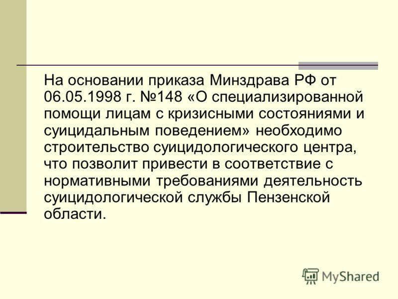 На основании приказа Минздрава РФ от 06.05.1998 г. 148 «О специализированной помощи лицам с кризисными состояниями и суицидальным поведением» необходимо строительство суицидологического центра, что позволит привести в соответствие с нормативными треб