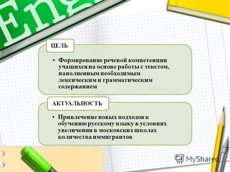 Формирование речевой компетенции учащихся на основе работы с текстом, наполненным необходимым лексическим и грамматическим содержанием ЦЕЛЬ Привлечение новых подходов к обучению русскому языку в условиях увеличения в московских школах количества имми
