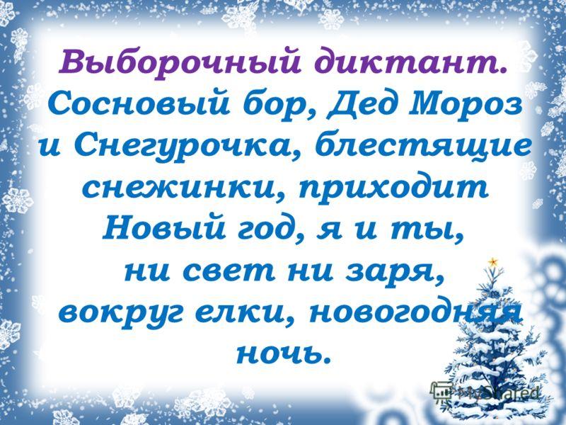 Выборочный диктант. Сосновый бор, Дед Мороз и Снегурочка, блестящие снежинки, приходит Новый год, я и ты, ни свет ни заря, вокруг елки, новогодняя ночь.