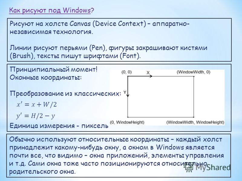 Как рисуют под Windows? Рисуют на холсте Canvas (Device Context) – аппаратно- независимая технология. Линии рисуют перьями (Pen), фигуры закрашивают кистями (Brush), тексты пишут шрифтами (Font). Принципиальный момент! Оконные координаты: Преобразова