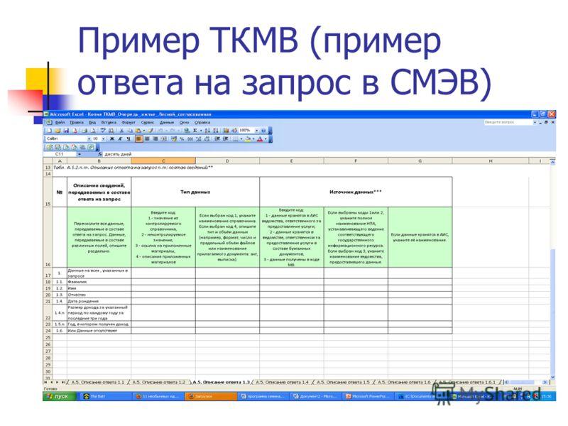 Пример ТКМВ (пример ответа на запрос в СМЭВ)
