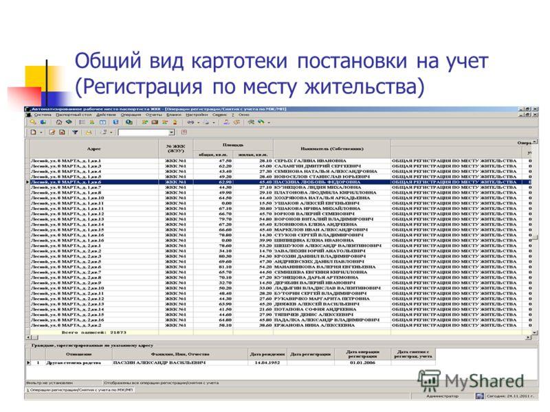 Общий вид картотеки постановки на учет (Регистрация по месту жительства)