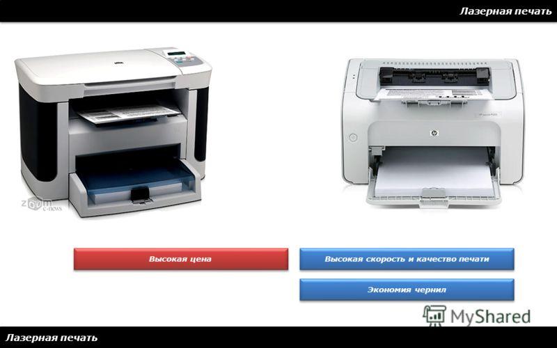 Лазерная печать Высокая скорость и качество печати Экономия чернил Высокая цена