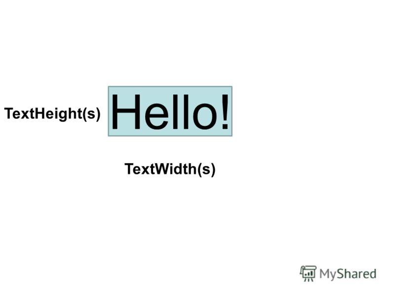 Hello! TextWidth(s) TextHeight(s)