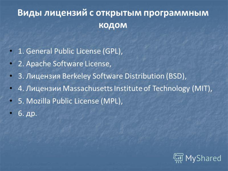 Виды лицензий с открытым программным кодом 1. General Public License (GPL), 2. Apache Software License, 3. Лицензия Berkeley Software Distribution (BSD), 4. Лицензии Massachusetts Institute of Technology (MIT), 5. Mozilla Public License (МPL), 6. др.