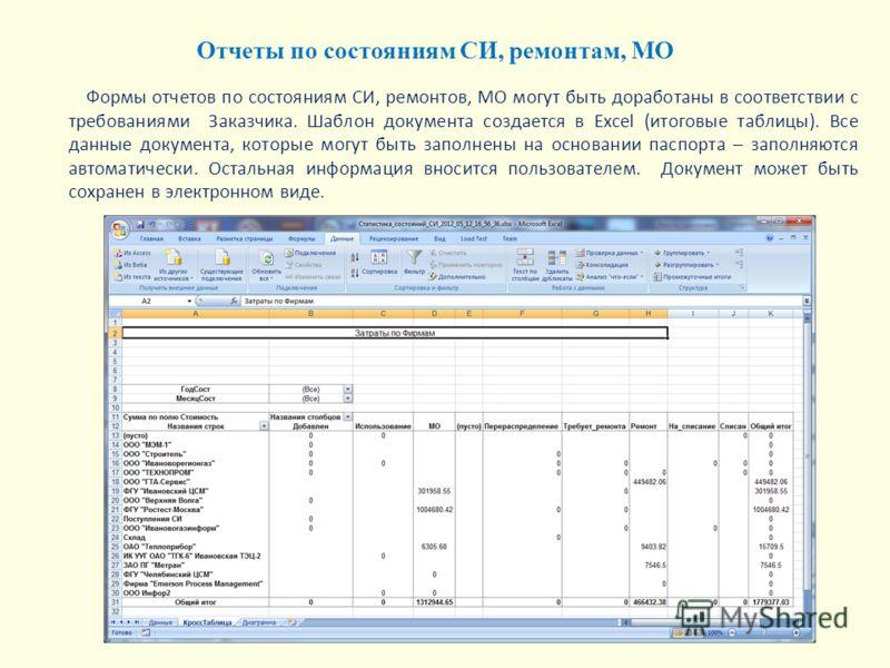 Формы отчетов по состояниям СИ, ремонтов, МО могут быть доработаны в соответствии с требованиями Заказчика. Шаблон документа создается в Excel (итоговые таблицы). Все данные документа, которые могут быть заполнены на основании паспорта – заполняются