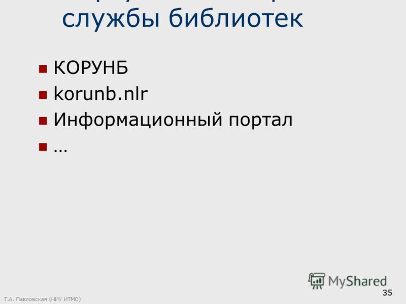 Виртуальные справочные службы библиотек КОРУНБ korunb.nlr Информационный портал … Т.А. Павловская (НИУ ИТМО) 35