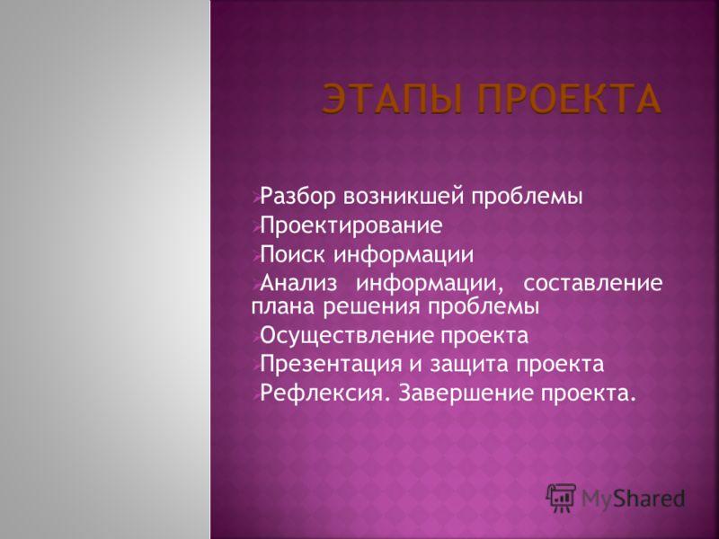 Разбор возникшей проблемы Проектирование Поиск информации Анализ информации, составление плана решения проблемы Осуществление проекта Презентация и защита проекта Рефлексия. Завершение проекта.