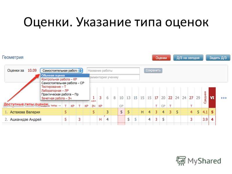 Оценки. Указание типа оценок